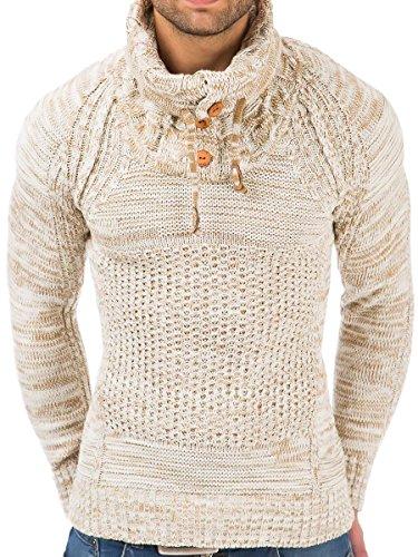 Pullover Herren Strickpullover Winter Pulli Tazzio Slim Fit Langarm Shirt Ecru