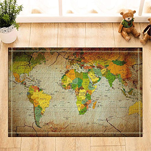 ZZ7379SL Wanderlust Decor Farbkarte der Welt mit Ländernamen Badteppiche 3D-Digitaldruck 40x60CM Schlafzimmer Küche Kinder Badezimmermatte Zubehör (Farbkarte Der Welt)