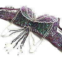 ROYAL SMEELA Disfraz de Danza del Vientre para Mujer Conjuntos de Sujetador y cinturón de Baile Profesional Carnival Sexy Fancy Traje de Baile