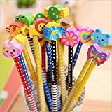 PARTEET Birthday Party Return Gifts, Extra Dark Pencils with Eraser for Kids - Assorted Designs (Pack of 12)
