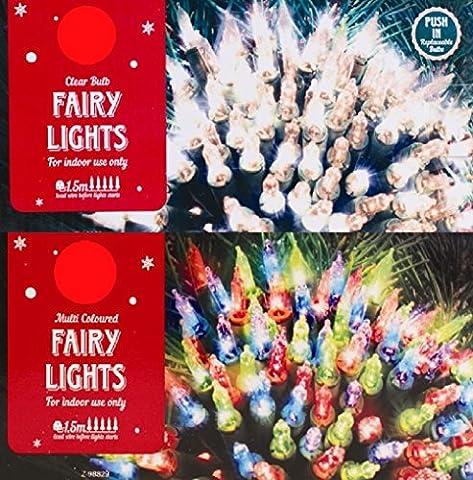 Christmas Fairy Lights Clear Multi Colour Xmas Bulbs Decoration Tree Traditional