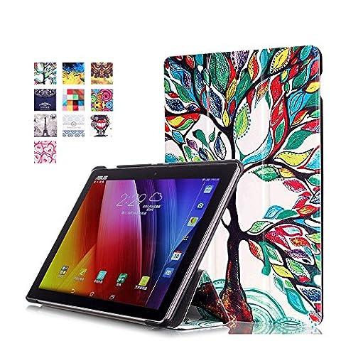WindTeco Étui ASUS ZenPad 10 Z301MFL / Z2301ML / Z300M / Z300C - Etui Housse Ultra Mince et Léger à Rabat avec Support et Fonction Réveil / Sommeil Automatique pour Tablette ASUS ZenPad 10 Z301MFL / Z2301ML / Z300M / Z300C / Z300CG / Z300CL 10.1 Pouces, Arbre Coloré