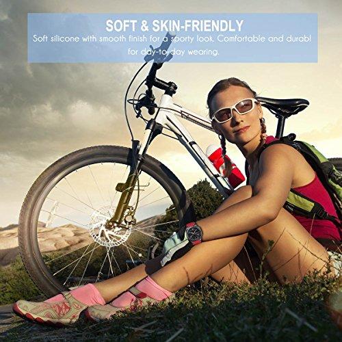 AMERTEER Samsung Gear S3 Frontier / Classic / Moto 360 2nd Gen 46mm Watch Armband – Silikon Sportarmband Uhr Band Strap Erstatzband Uhrenarmband für Samsung Gear S3 Classic Samrtwatch, Nicht für Gear S2 Classic, Red - 2