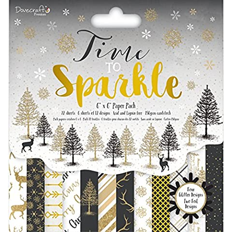 Dovecraft Christmas Collection - Premium Time to Sparkle Paper Pack 6