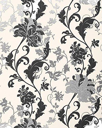 Blumen Tapete EDEM 833-20 edles florales Design Blüten Blätter Blumentapete schwarz weiß silber creme 70 cm (Schwarz Creme Tapete Und)
