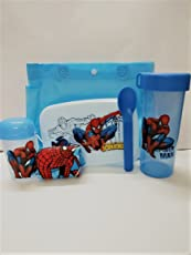 Shopkooky Plastic Spiderman Printed Designer Attractive Lunchbox Set with Spoon, Handkerchief, Small Bottle and Carry Bag - Pack of 6