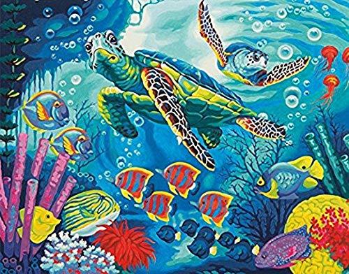 WAZHCY Malen nach Zahlen für Erwachsene Kid Sea Turtles auf Segeltuch DIY 40X50CM Ohne Rahmen -