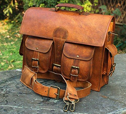 Bolso bandolera de piel y hecho a mano para ordenador portátil, bolso acolchado, mochila escolar...