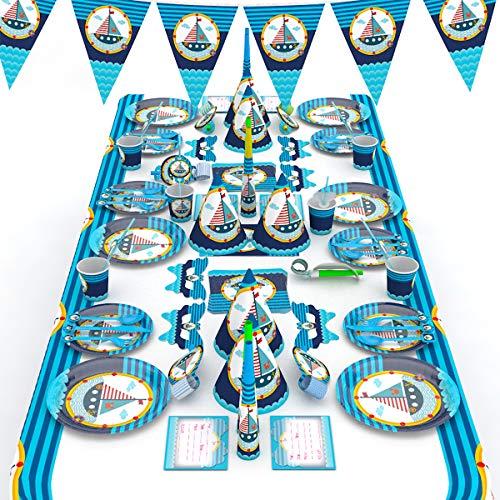 Himeland 90-teilig Party-Set, Happy Birthday Kuchendekoration (Cupcake Und Cake Toppers Tischdecke Partyt¨¹Ten Einladungskarten) f¨¹r Kindergeburtstag, Baby Shower
