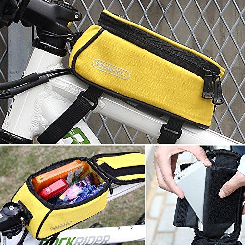 Fahrrad Aufbewahrungstasche Fahrrad Rahmen Front Tube Beam Tasche Transparent PVC 14cm Touchscreen Handy Tasche Bike Zubehör Gelb