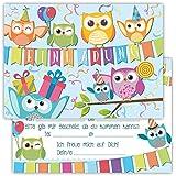 12 Lustige Einladungskarten im Set für Kindergeburtstag Eule Party für Jungen Mädchen Kinder Top Geburtstagseinladungen Karten Eulen Luftballons Uhu witzig Einladung Geburtstag Feier