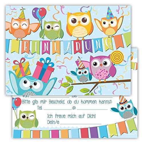 12 Lustige Einladungskarten im Set für Kindergeburtstag Eule Party für Jungen Mädchen Kinder Top Geburtstagseinladungen Karten Eulen Luftballons Uhu witzig Einladung Geburtstag (Kostüm Bowling 50)