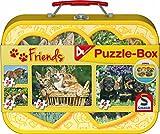Schmidt Spiele 56499 - Haustiere Puzzle-Box, 2 x 26 / 2 x 48 Teile, im Metallkoffer