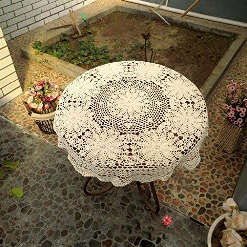 Nappe européenne Nappe ronde vintage à la main crocheté fleurs American pastoral creux à tricoter table basse tissu (Couleur : Beige, taille : Round-70cm)