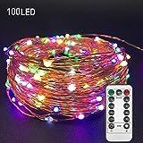 EEIEER 10 M 100 mini LED Kupfer draht Lichterketten mit timer Bunt Fairy String Lights LED Lichterketten USB-Stromversorgung mit Fernbedienung für die Hochzeitsfeier nach Hause Weihnachtsdekoration