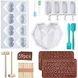 3D Diamant Coeur Silicone Moule,Moulle Magnum Cake,3d en Forme de Coeur en Diamant,Moule en Silicone Antiadhésif Lettres Et C