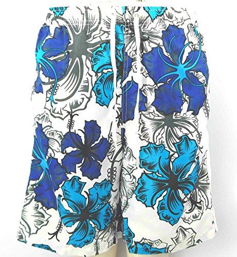 Herren Jungen Sommer Badeshorts Blumenmuster mit Taschen - White & Jade Floral