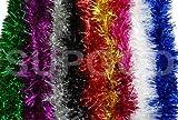 Lametta, glänzend, Anhänger für Weihnachtsbaum und Dekorationen, 2 m lang, 11 cm breit garlands. in 9 Farben erhältlich, Rot, Weiß, Blau, Gold, Silber, Rosa, Lila, Schwarz, Grün 2M WHITE