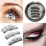 SBE 3D Magnetic False Eyelashes, Natural 3D Full Eye Fake Lashes, Reusable Ultra Thin & Soft Lashes Extension For Natural Look(1 Pair/4 Pcs)
