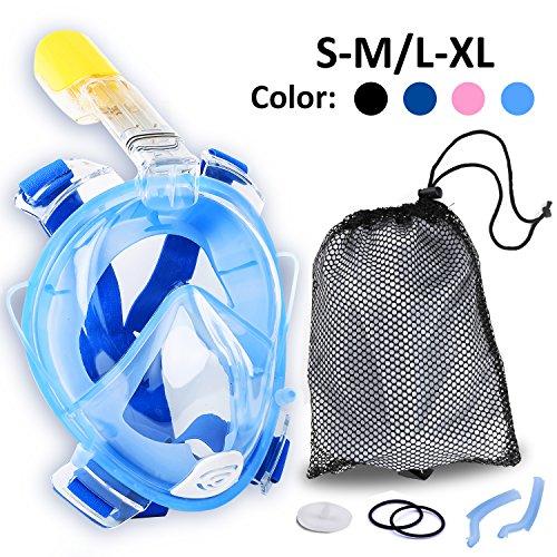 Tauchmaske Schnorchelmaske Tauchermaske Vollmaske Diving Mask Vollgesichtsmaske 180° Schnorchel- Vollmaske, 100% Panorama Sicht, Anti-Fog, Anti-Leak -mit zusätzlichen Atemröhren, die die Atemluft aus dem Sichtfeld lenken (blau, L/XL)