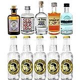 Gin Tonic Probierset - 5x Verschiedene Gin Sorten je 5cl + 5x Thomas Henry Tonic Water 200ml