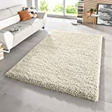 FB FunkyBuys® Large Small Modern Soft Touch Shaggy Thick Luxurious 5cm Dense Pile Bedroom Rug - Available in 12 Vibrant Colors & 4 Sizes (Cream, 80 x 150 cm)