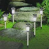 Set LED luci solari in acciaio inox–Lampada Solare Lampada Solare da Giardino Esterno (24)