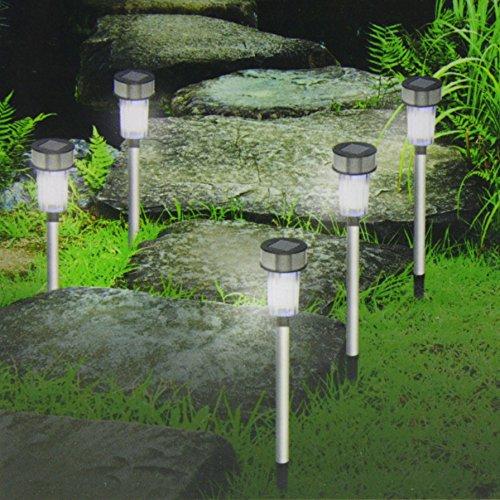 Set LED Solarleuchten aus Edelstahl - Solarleuchte Solarlampe Garten Außen (24)