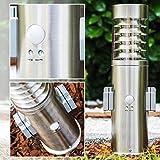Lampe-de-jardin-avec-2-prises-et-dtecteur-de-mouvement-Dakar-Borne-de-chemin-1-x-E27-max-15-Watt-acier-inoxydable