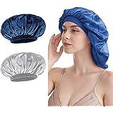 Berretto in raso, morbido berretto da notte per donne e ragazze (argento + marino)
