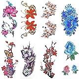 ROSENICE Tatouages temporaires 8 feuilles aquarelle motif tatouage autocollant fleur longue durée autocollants pour femmes
