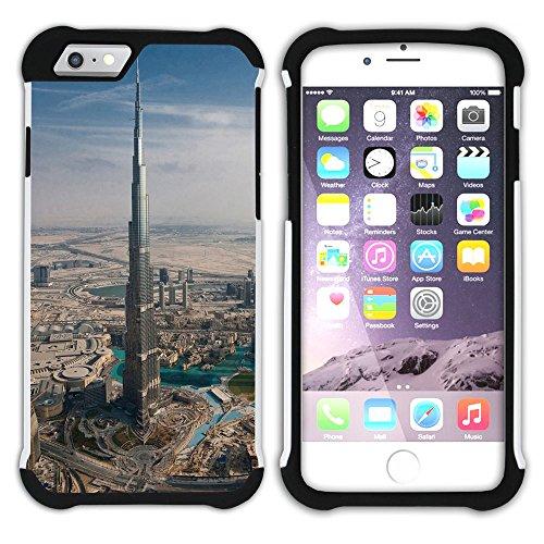Graphic4You Burj Khalifa Skyscraper Dubai Postkarte Ansichtskarte Design Hart + Weiche Kratzfeste Hülle Case Schale Tasche Schutzhülle für Apple iPhone 6 Plus / 6S Plus Design #8