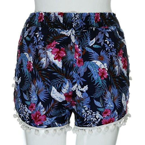 Kingko® Dame blaue rote grüne Quaste bedruckte Shorts Blau