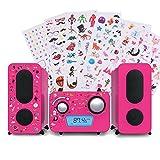 Kinder Stereo Musik Anlage CD Spieler Radio Lautsprecher Aufkleber Big Ben MCD 11 Pink