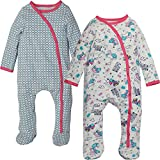 Kadambaby- Set Of 2 Baby Bodysuit /footed Romper /Newborn Sleep Suit / Onesies For Baby Boy/ Premium Baby Sleepwear /Pink Flower Print