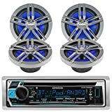 #6: New Kenwood Outdoor KMR-D362BT Bluetooth Marine Boat /Car ATV AM/FM Radio CD/MP3 USB iPod iPhone Pandora Stereo Player With 4 New 6.5