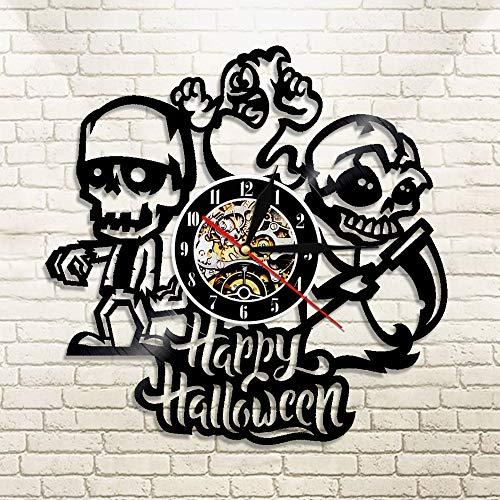 �ck Happy Halloween Schädel und Gespenst Wanduhr aus Vinyl Schallplatte Longplay Vinyl Wandkunst Dekoration Geschenk für Liebhaber ()