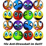 1a-becker 16x Anti Stressbälle Smiley Wurf Stress Knet Jonglierball Schaumstoff Ball bunt