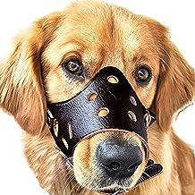 JUNMO® Ajustable de Cuero Hocico del Perro Anti-Morder Transpirable Seguridad del Animal Doméstico del Perrito de la Máscara de Bozales para Morder y Ladrar (Negro, M)