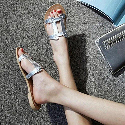 SHINIK Femmes Open Toe Flip Flop Sandales Summer Essentielles Sandales H-Type Classique En Cuir Plat H Pantoufles Chaussures Beach Pool Shoes Silver