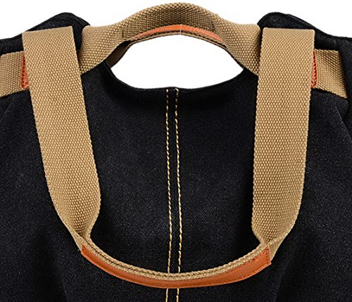 Panegy Damen Frauen Casual Tasche Mode Canvas Schultertasche Fashion Large Kapazität Handtasche Für Freizeit Outdoor und Sport - Himmelblau Schwarz