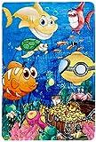 Kinderteppich Modern River Kids für Das Kinderzimmer waschbar bei 30 Grad in der Waschmaschine (100 x 150 cm, FAI 638 fröhliche Fische)