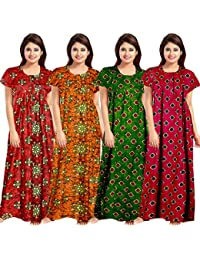 Lorina Women's Cotton Nighty (Multicolour, Free Size) -Combo of 4 Pieces