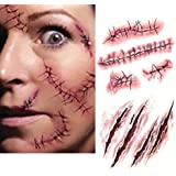 Brave Pioneer 10PCS Halloween Autocollant Tatouages Temporaires Zombie Faux Sang Blessure Costume Maquillage Cosplay Party Soiree (Type A)