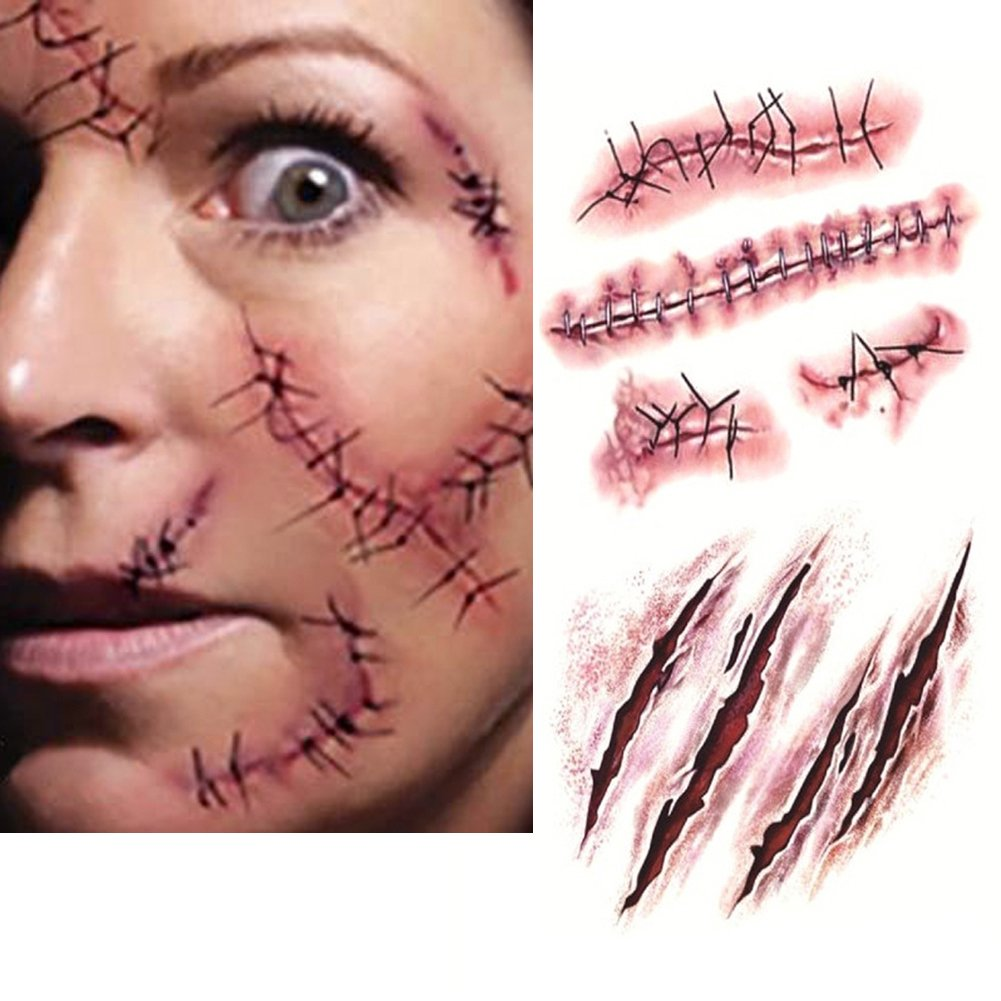 LAEMILIA 10 pcs Halloween Deko Tattoo Horror Karneval Kostüme Schminke Kunstblut Zombie Narben Makeup (Rot)