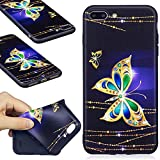 iPhone 7 Plus Case, iPhone 7 Plus Silicone TPU Transparent Cover, COZY HUT Premium Ultra Slim Thin Silicone Flexible Quality TPU Soft Pattern Design Cute Black Cover, Gel Plastic Protective Shock Absorption Proof Drop Defend Anti Scratch Shell for iPhone 7 Plus - Golden butterfly