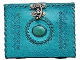 Crafat Leder-Tagebuch mit Stein, Notizbuch aus Leder, mit Schloss, von Hand geprägt, Büttenpapier m ozeanblau