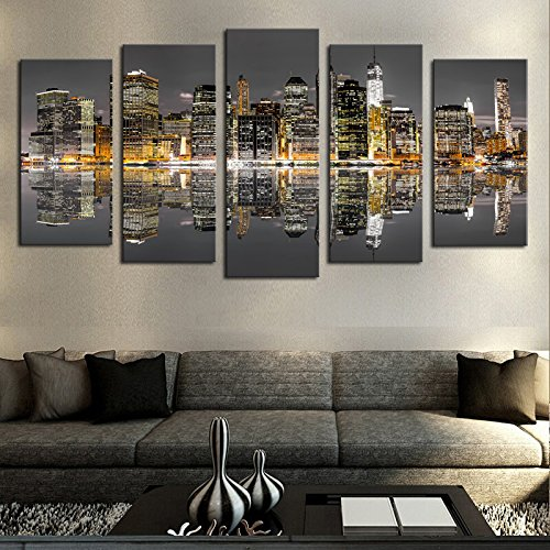mmwin HD Drucke Poster Leinwand Wandkunst Modulare Bilder Wohnkultur Arbeit 5 Stücke New York City Night Skyline Reflexion -