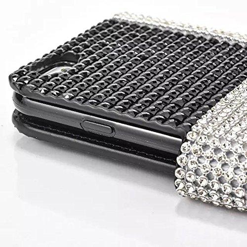 """iPhone 7 Lederhülle, 3D Bling Glitzer Strass CLTPY iPhone 7 Flip Stand Bookstyle Wallet Handytasche mit [Ständer Standfunktion] & [Magnetverschluss] für 4.7"""" Apple iPhone 7 + 1 x Stylus - Rosa A Schwarz C"""