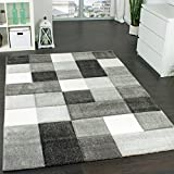 Paco Home Designer Teppich Modern Handgearbeiteter Konturenschnitt Kariert Grau Weiß, Grösse:80x150 cm